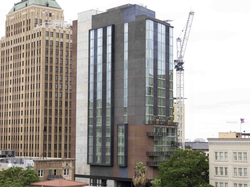 The downtown skyline with the addition of Canopy by Hilton, a new upscale hotel that features a departure from traditional San Antonio architecture.