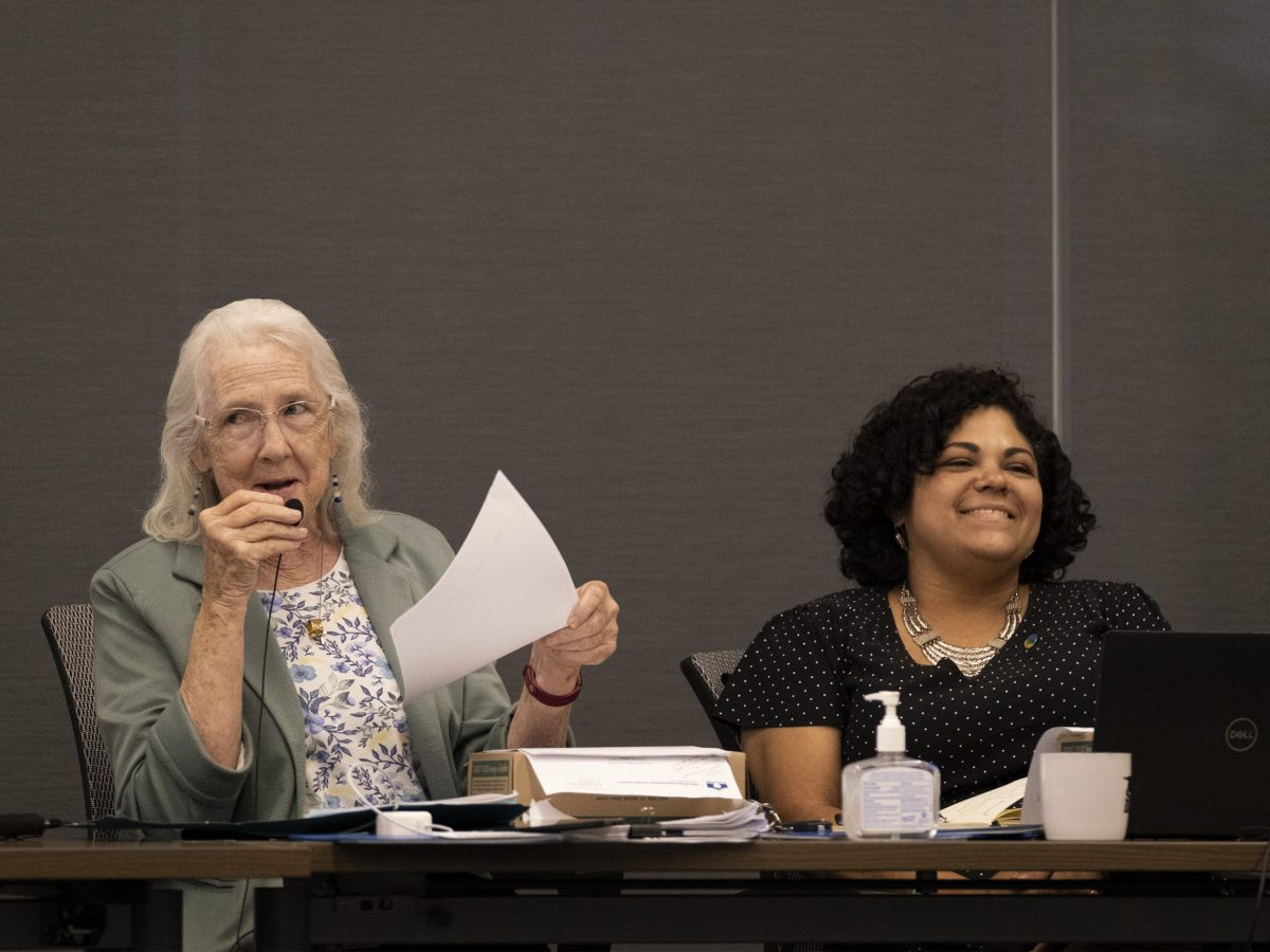 SAISD Board President Patti Radle (left) announces during Monday's school board meeting that she will not seek reelection and endorses Christina Martinez (right) to succeed her.