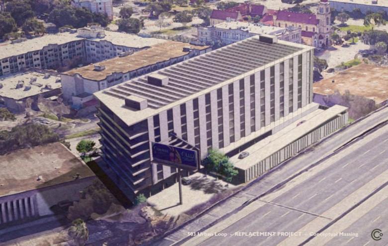A rendering of the proposed parking garage at 503 Urban Loop.