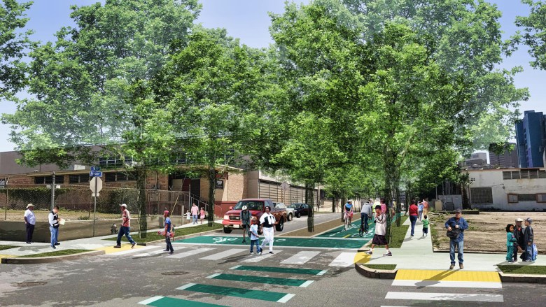 This iteration of what Avenue B could look like shows dedicated bike lanes and trees planted alongside the road.