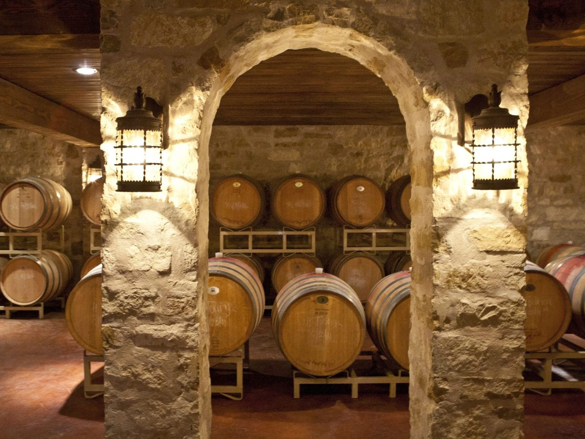 The barrel room at Spicewood Vineyards cools the aging wine at a constant temperature.