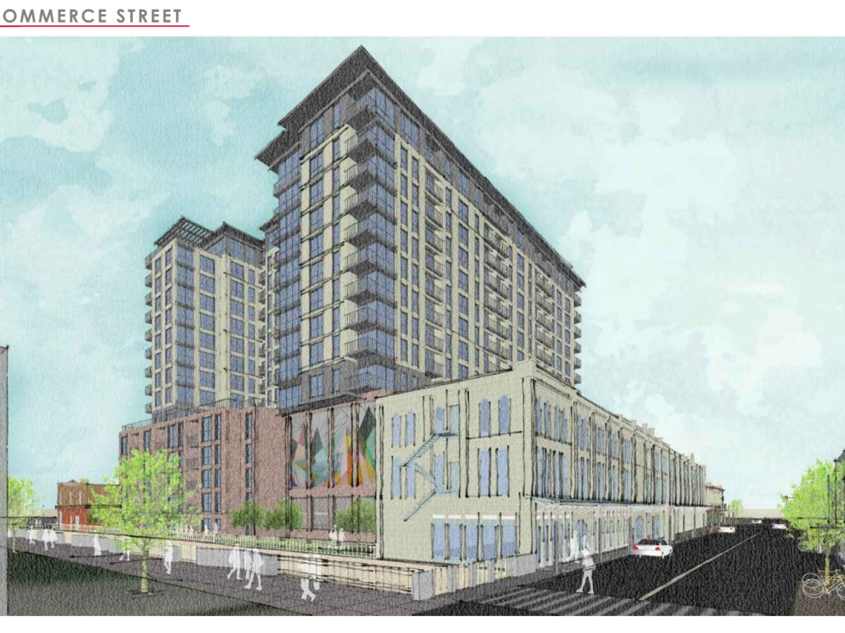 Plans approved Wednesday show a new residential tower sandwiched between the former Contiental Hotel (right) and the Arana Building (far left).