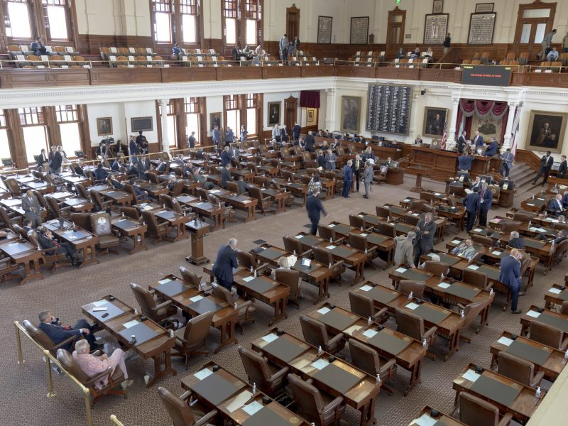 The Texas House of Representatives Chambers are mostly empty on one side as about 50 Texas Democrats flew to Washington D.C. to break quorum last week in opposition to voting legislation.