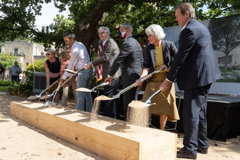 Elected officials and other distinguished guests perform the ceremonial groundbreaking for the Alamo's new Exhibition Hall and Collections Building slated to open in 2022. From left to right: Kate Rogers, Executive Director of the Alamo Trust; Hope Andrade, Board Member of the Alamo Trust; George P. Bush, Texas GLO Comissioner; Lt. Governor Dan Patrick, Trish DeBerry, County Commissioner (Pct. 3); Welcome Wilson, Jr.,Board of Directors of the Remember the Alamo Foundation in San Antonio.