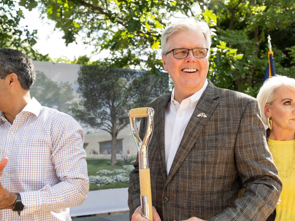 Lt. Gov. Dan Patrick smiles after the groundbreaking ceremony for the Alamo's new exhibition hall and collections building.