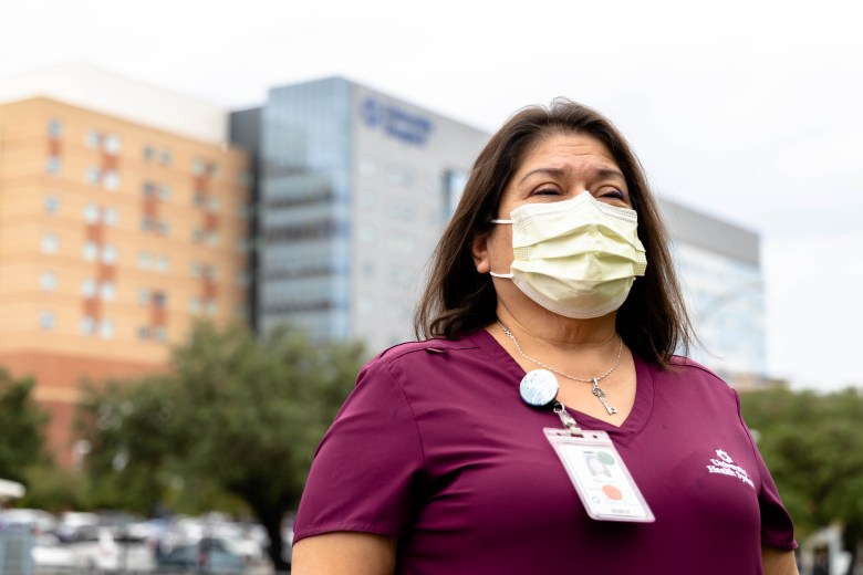 Mary Ann Lozano University Hospital surgical-medical tech, works with COVID-19 patients since March 2020.