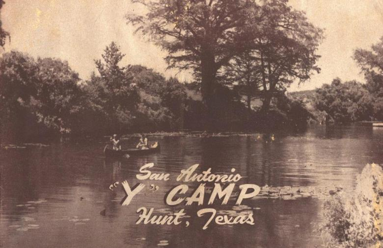 """A vintage postcard shows a scene of the Guadalupe River with the words """"San Antonio """"Y"""" Camp Hunt, Texas"""" overlaid."""