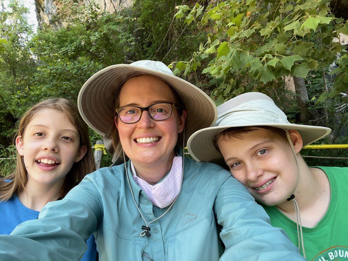 Annika, Inga, and Nicholas Cotton at Hamilton Pool Nature Preserve in Austin on June 17, 2021.