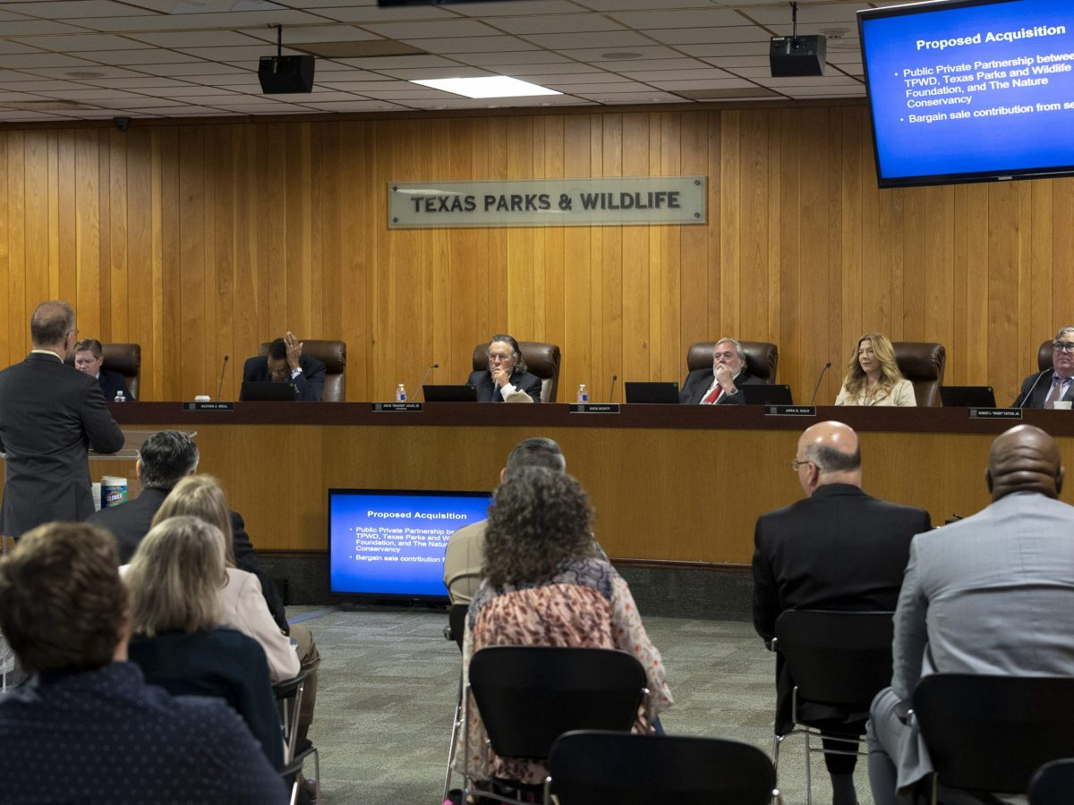 The Texas Parks and Wildlife Commission is briefed on the proposal of acquiring 515 acres in Comal County to help preserve the Honey Creek Natural Area.