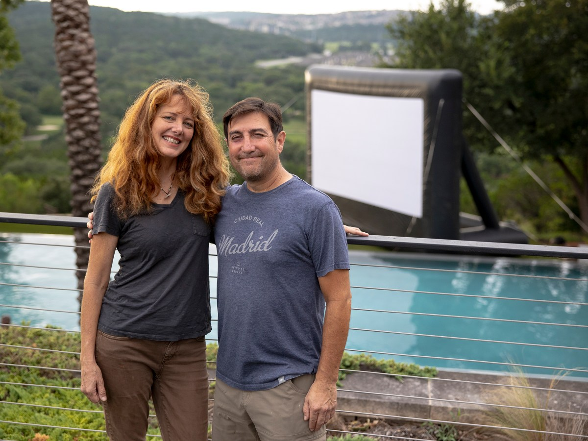 Angela and Rick Martinez, owners of Slab Cinema, are opening a new movie theatre at Blue Star. They continue to provide outdoor screenings at various locations with their inflatable movie screens.