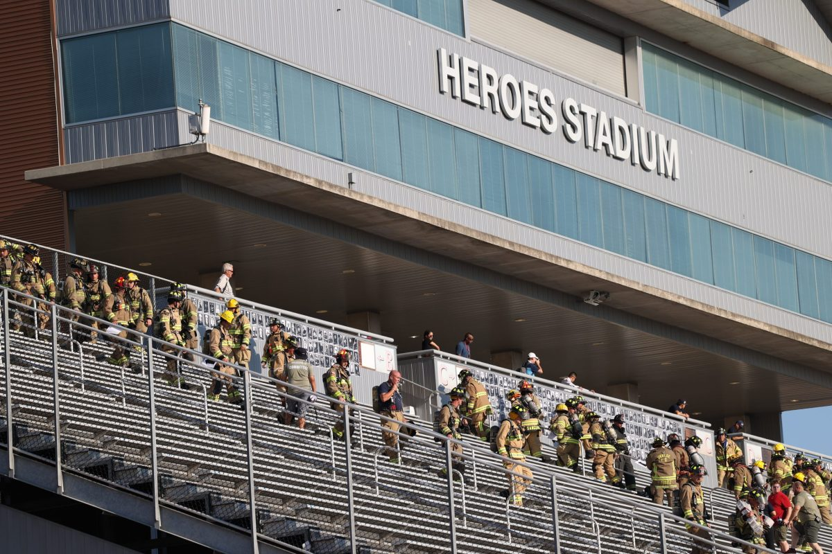Hundreds of emergency responders from all over Texas and other states (including California, Hawaii, Arizona and South Carolina) climb the stairs at Heroes stadium to reach the 110 floors of the World Trade Center the Saturday.