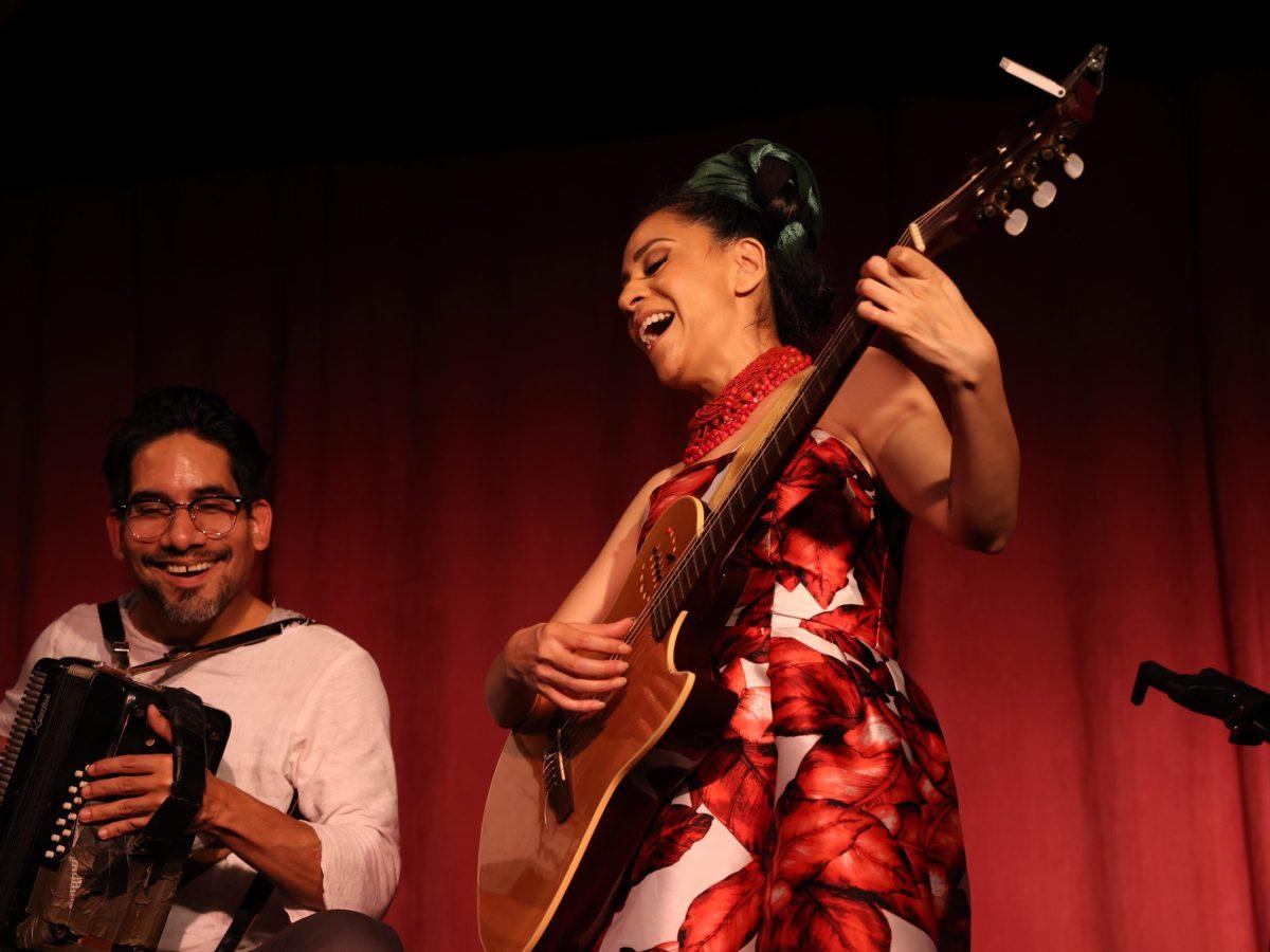 Singer/ songwriter Azul Barrientos sings corridos accompanied by Jamie Ramirez on the accordion.