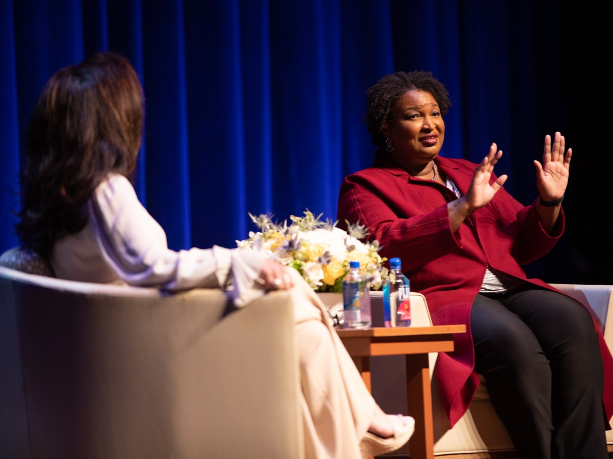 Georgia gubernatorial candidate and political celebrity Stacey Abrams participates in a speaking engagement at the Tobin Center for the Performing Arts moderated by Ursula Pari on Monday evening.