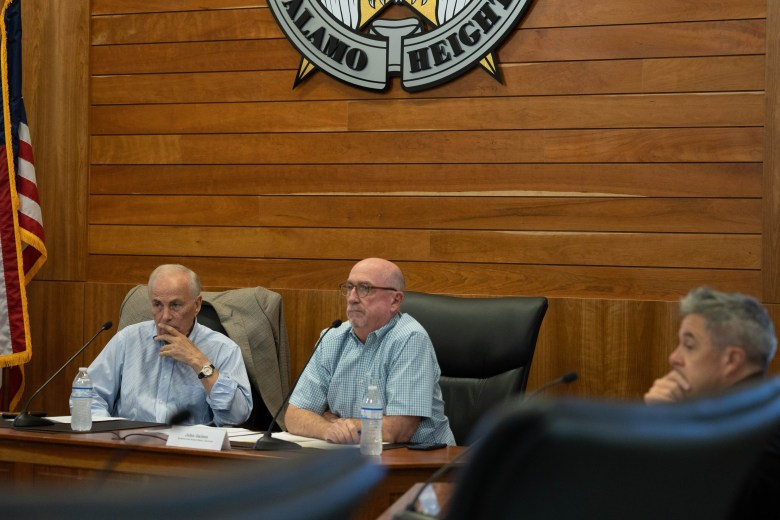 Members of the Alamo Heights Architecture Review Board listen to public comments regarding the possible demolition of buildings sitting on four lots in Katherine Court Tuesday.