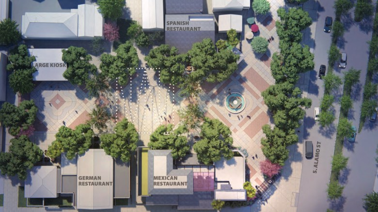 An aerial site rendering of La Villita shows a reconfigured plaza and additional structures.