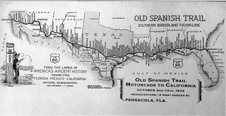 Un mapa antiguo muestra la Antigua Ruta Española cruzando el sur de los Estados Unidos.