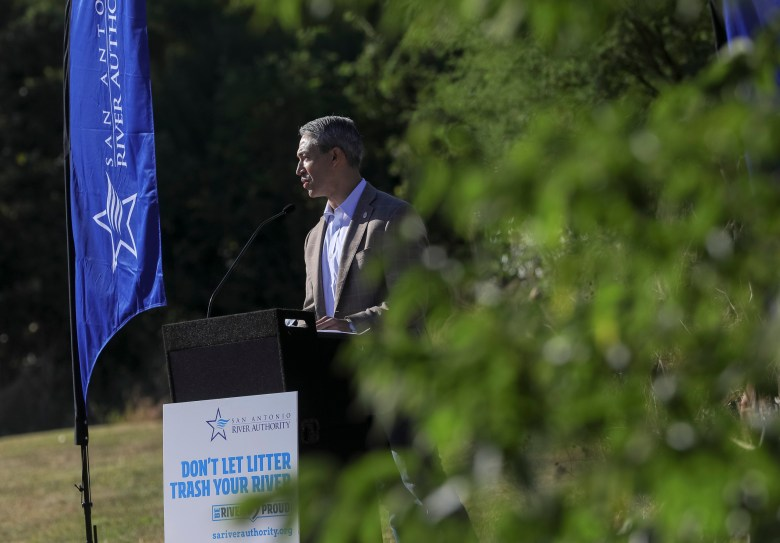 San Antonio Mayor Ron Nirenberg speaks during the press conference announcing the new campaign against litter in the San Antonio River.