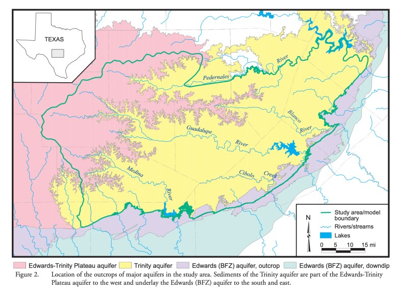 A map from the Texas Water Development Board shows the boundaries of the Trinity Aquifer (yellow).