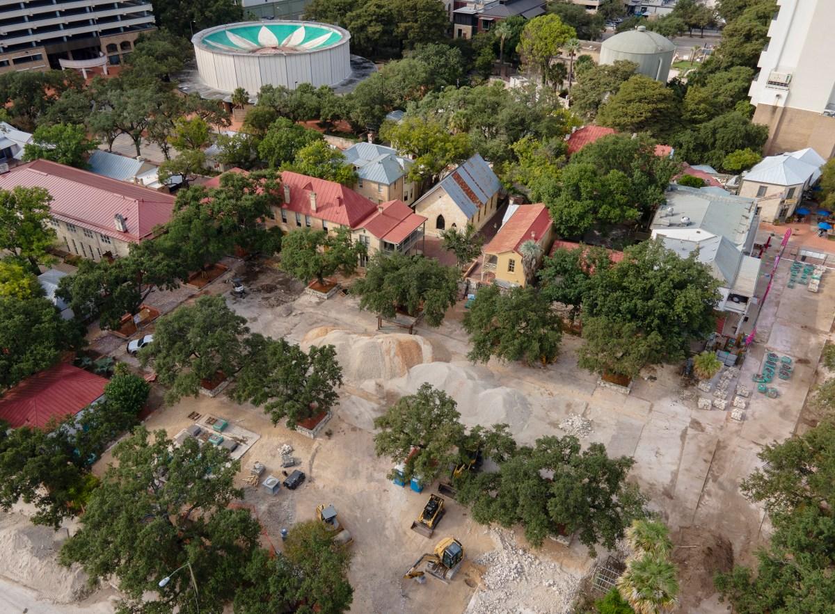 Construction continues on Maverick Plaza at La Villita on Monday.
