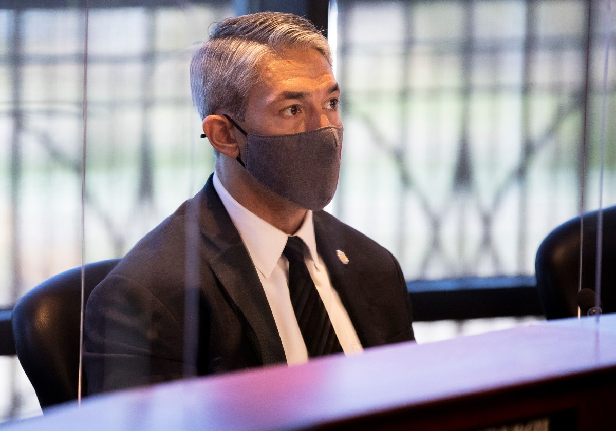 Mayor Ron Nirenberg listens to a speaker during a San Antonio Water System board meeting on Tuesday.