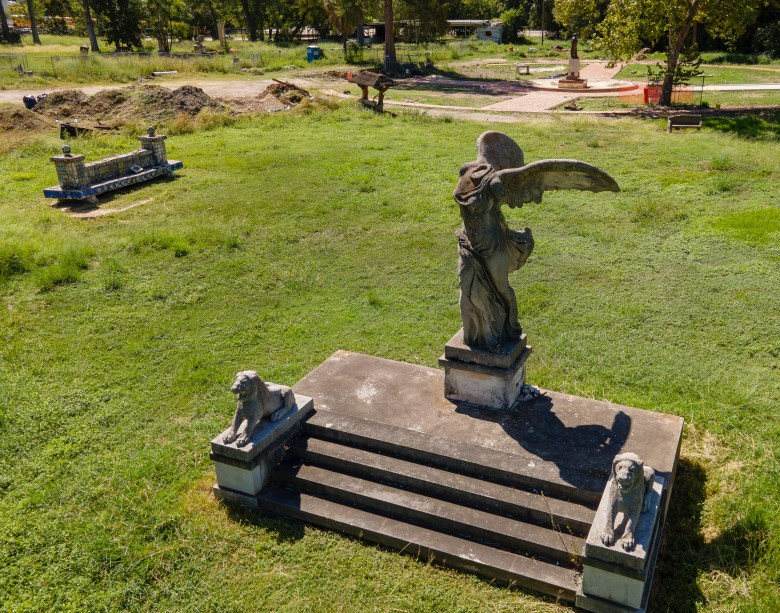 Decrepit sculptures dot the grounds of Miraflores Park on Tuesday.