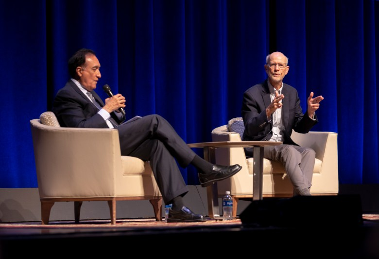 (from left) Former Mayor Henry Cisneros interviews author and former Trinity University Professor Char Miller during the 2021 CityFest luncheon at the Tobin Center on Thursday.