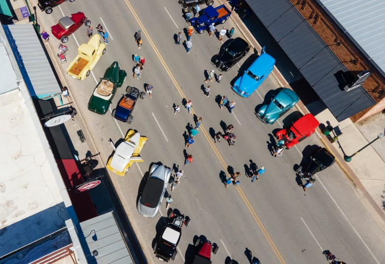 Classic cars line Main Street during the 35th annual Hills Rod Run car show in Boerne on Saturday.