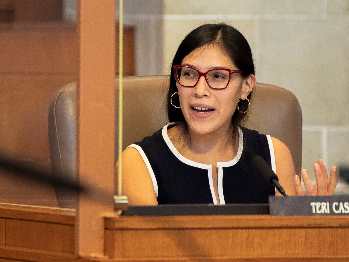 Council Member Teri Castillo speaks during a City Council meeting about redistricting on Wednesday.