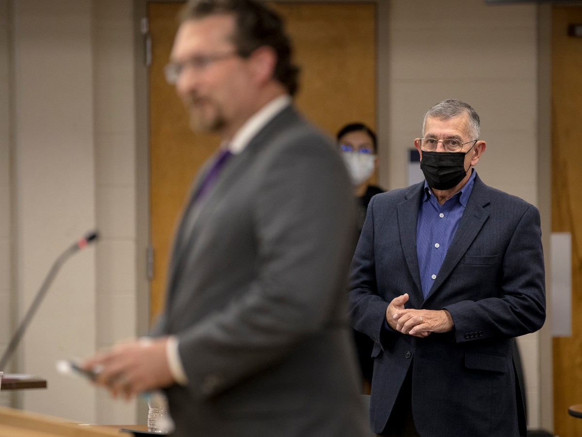 Former South San Antonio ISD Superintendent Abe Saavedra is introduced as monitor by Jeff Cottrill, deputy commissioner of governance and accountability for the Texas Education Agency, during a board meeting on Thursday.