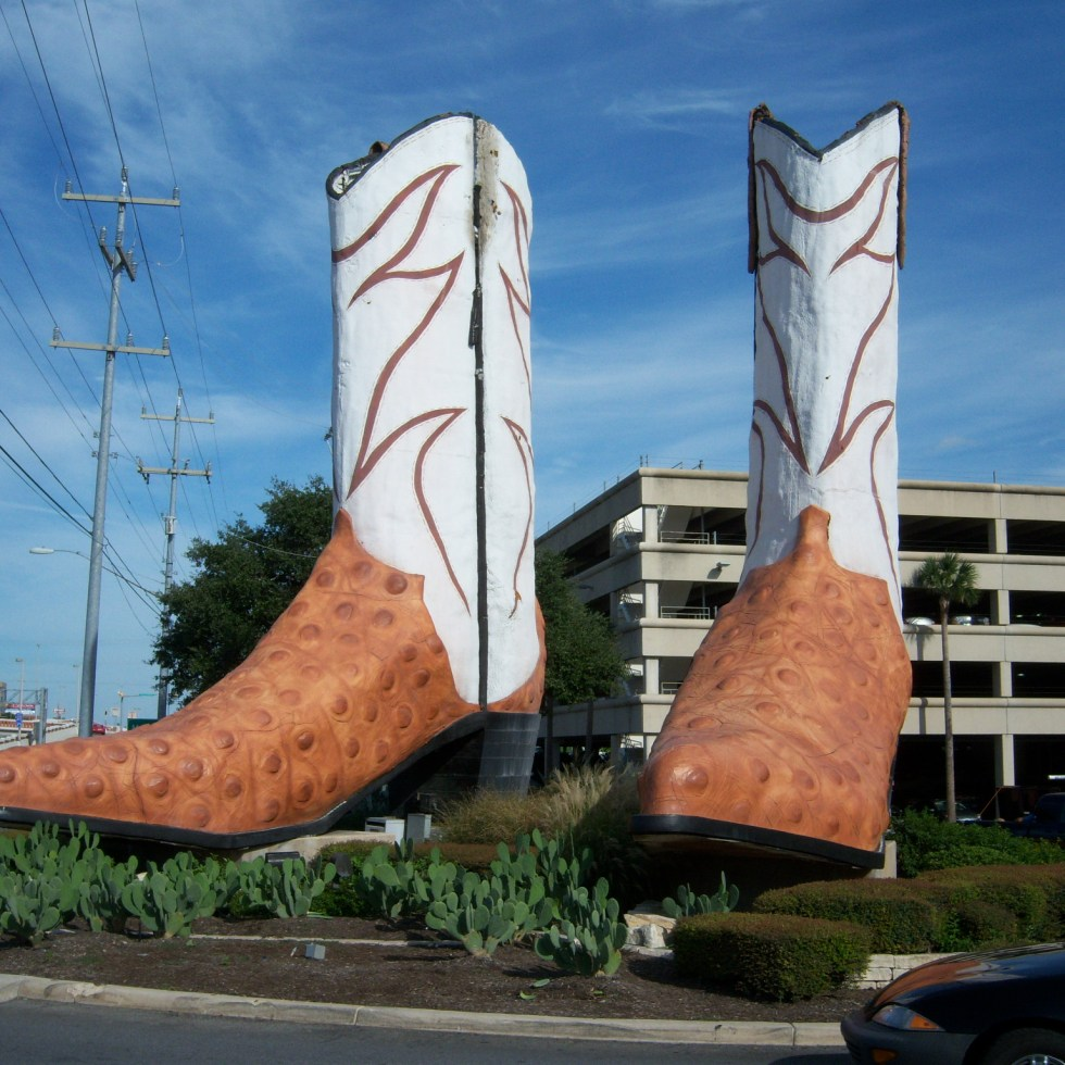 Photo of the giant cowboy boots outside of North Star Mall.