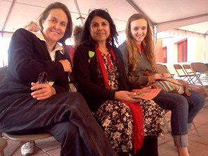 Photo of Naomi Shihab Nye, Chitra Divakaruni and Aedan Richter at the San Antonio Book Festival in 2013.