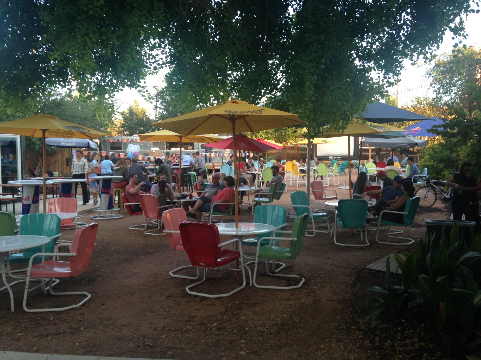 Photo of the Burleson Yard Beer Garden in San Antonio, Texas.