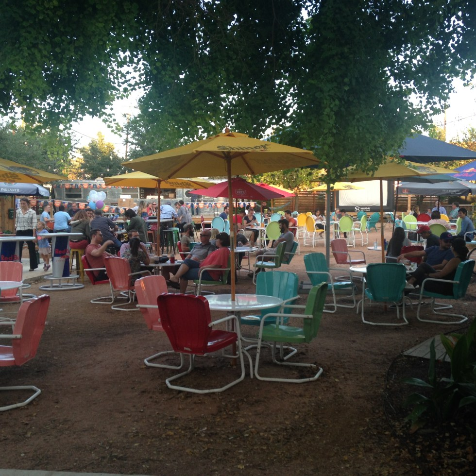 Photo of the Burleson Yard Beer Garden in San Antonio, Texas.