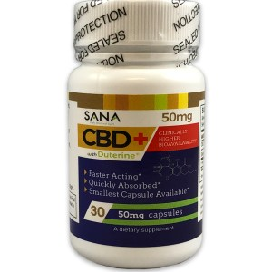 SANA Supplements CBD+ 50mg Capsules with Duterine