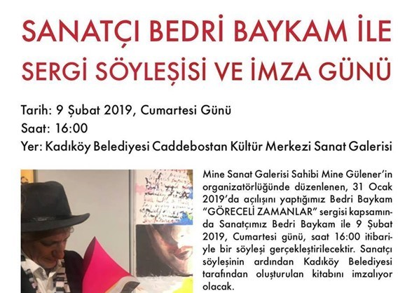 9 Şubat 2019 Cumartesi Bedri Baykam'la Söyleşi