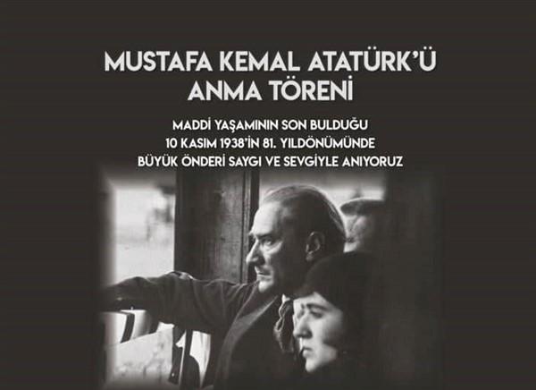 8 Kasım 2019 Cuma Atatürk'ü Anma Töreni