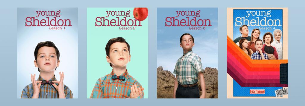 Pôsteres das temporadas de Young Sheldon na CBS