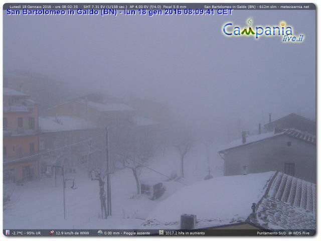 Campania: neve da est e paesaggi fiabeschi sino a bassa quota