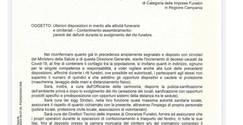 Nuove disposizioni della Regione Campania circa la celebrazione dei funerali