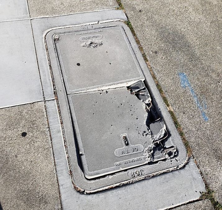 Broken Sidewalk On Jenevein
