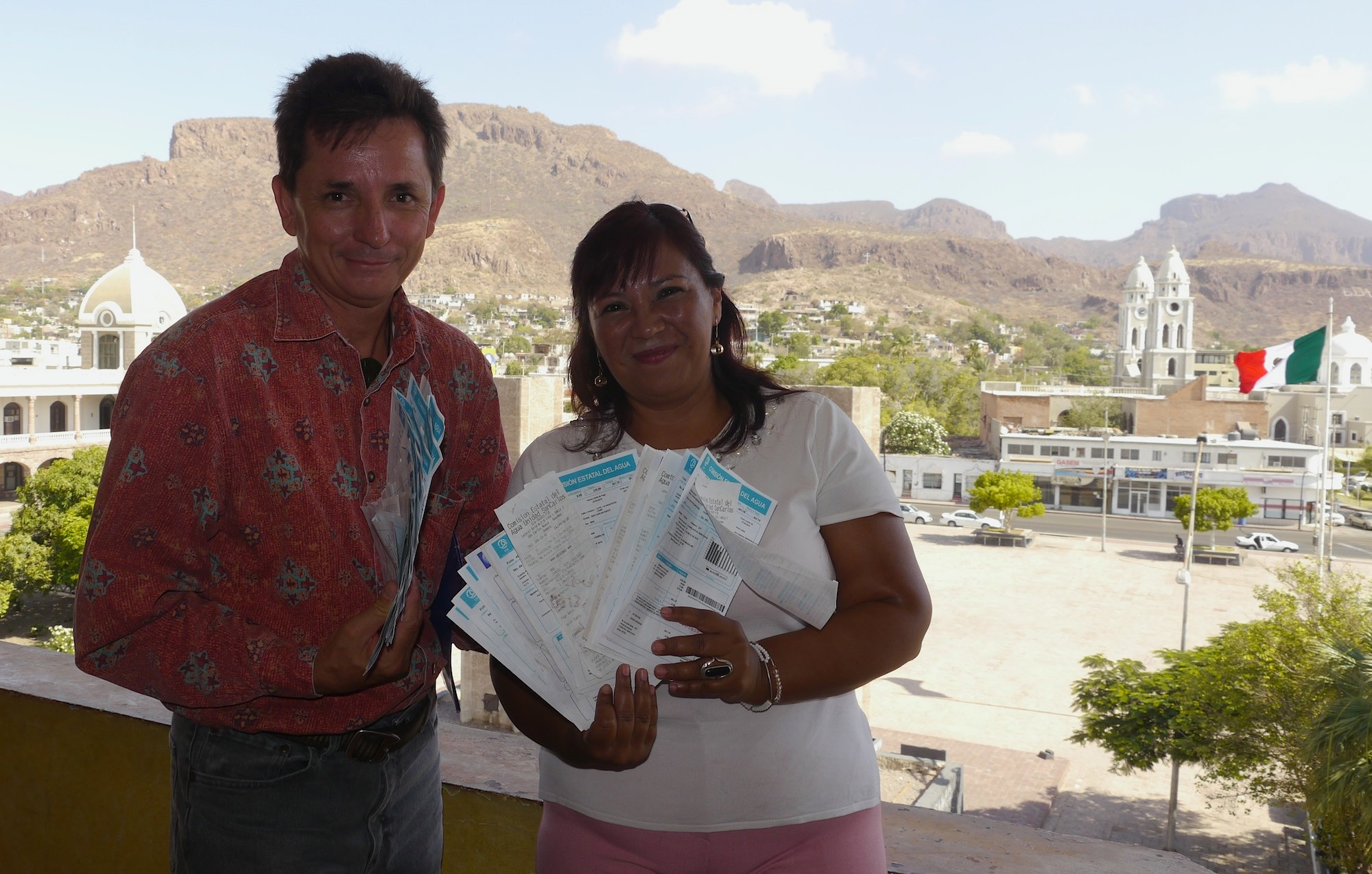 Dozens of water receipts are delivered to the Governors office in Hermosillo after radio interview with local activists
