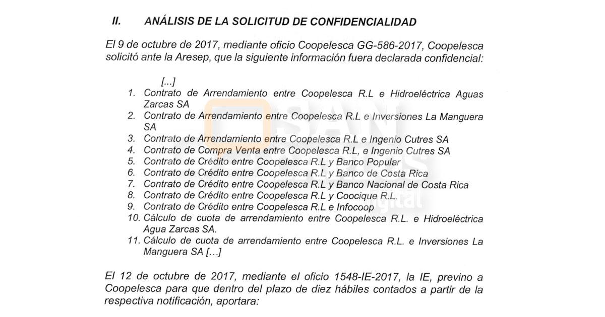 Coopelesca pidió a la ARESEP que contratos con Hidrozarcas y el BCR fueran confidenciales
