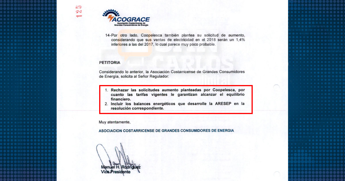 Asociación de Grandes Consumidores de Energía pidió rechazo a aumento solicitado por Coopelesca