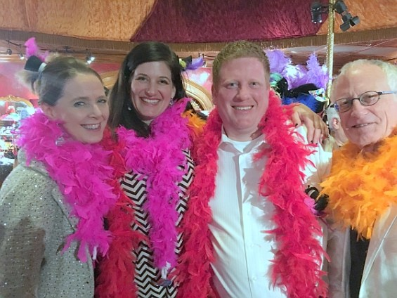 The Harvey Family (right to left) - John, JW, and Michelle, along with Orcas Business Park office manager Shannon Archer, celebrate with SANCA at LEAP with a Twist!