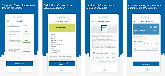 Capturas de pantalla de los nuevos trámites que podrán realizarse en la app MiDGT durante 2021.