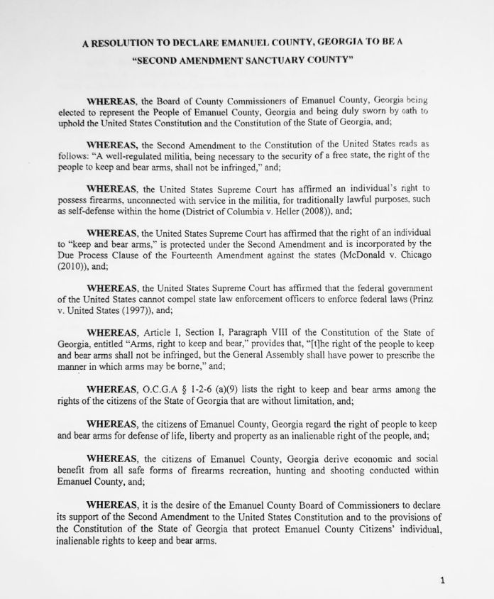 Emanuel County Georgia Second Amendment Sanctuary County Resolution 1
