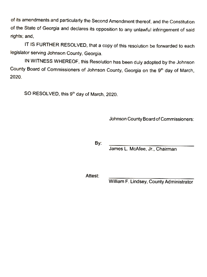 Johnson County resolution of support for the Second Amendment of the United States Constitution Page 2.