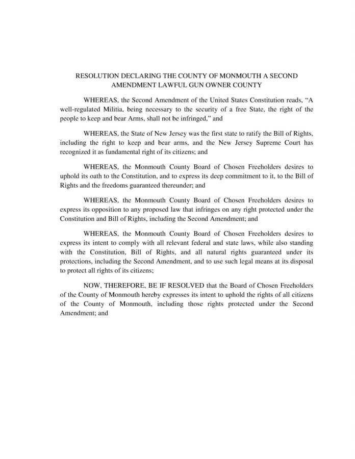 RESOLUTION DECLARING THE COUNTY OF MONMOUTH A SECOND AMENDMENT LAWFUL GUN OWNER COUNTY
