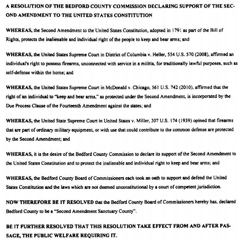 Copy of the Bedford County, Tennessee Second Amendment Sanctuary Resolution as proposed to the board in November, 2019.