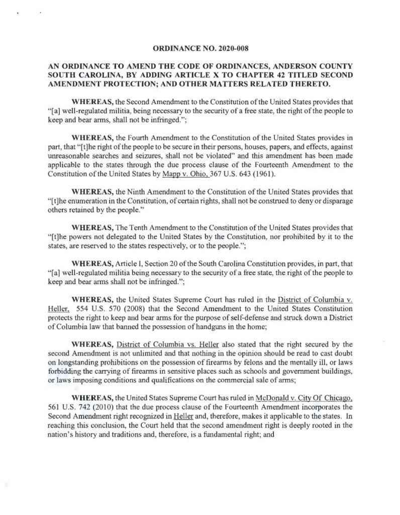 Anderson County Second Amendment Sanctuary Ordinance Number 2020-008
